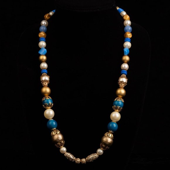 Vintage Blue and Gold Faux Pearl Beaded Necklace
